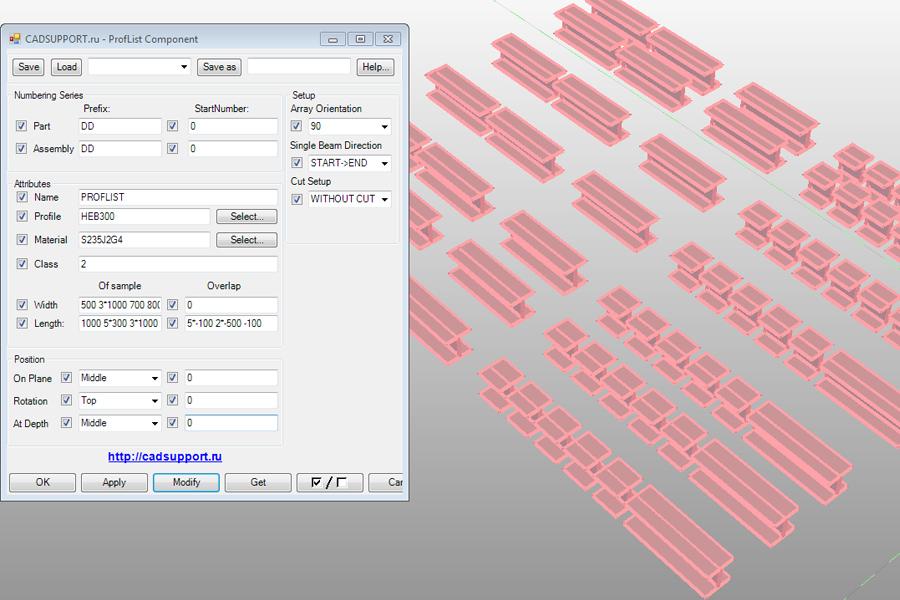 Tekla Component: Beam 2D Array - CadSupport
