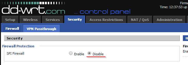настройка openVPN на dd-wrt - отключаем SPI Firewall