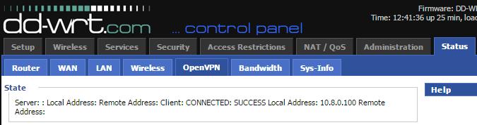 dd-wrt openvpn статус - подключено