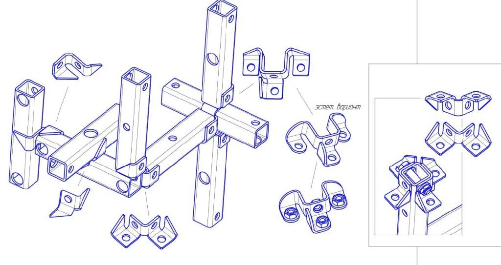 Общая схема разъемных соединений с помощью промежуточных элементов для профильной трубы