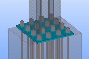 жесткая база металлической колонны на анкерах