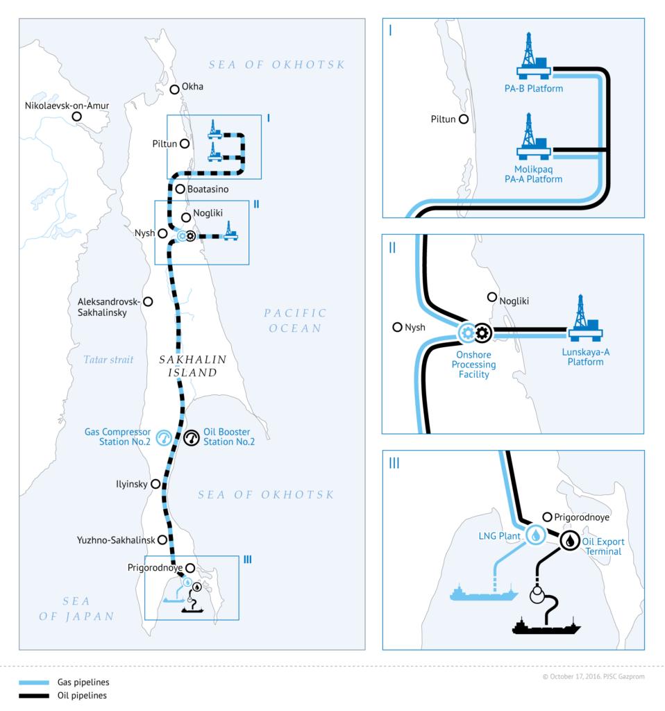 схема трубопроводов нефть и газ сахалин 2017 СПГ